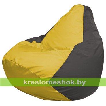Кресло-мешок Груша Макси Г2.1-249 (основа серая темная, вставка жёлтая)