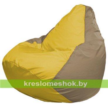 Кресло-мешок Груша Макси Г2.1-252 (основа бежевая тёмная, вставка жёлтая)