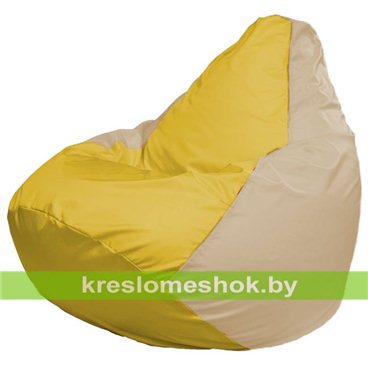 Кресло-мешок Груша Макси Г2.1-255 (основа бежевая, вставка жёлтая)