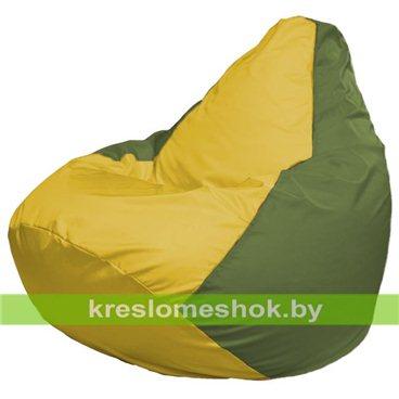 Кресло-мешок Груша Макси Г2.1-259 (основа оливковая, вставка жёлтая)