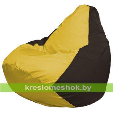 Кресло-мешок Груша Макси Г2.1-261 (основа коричневая, вставка жёлтая)