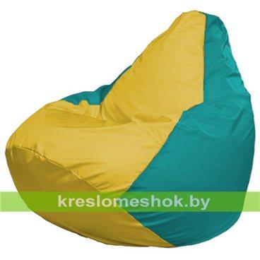 Кресло-мешок Груша Макси Г2.1-264 (основа бирюзовая, вставка жёлтая)