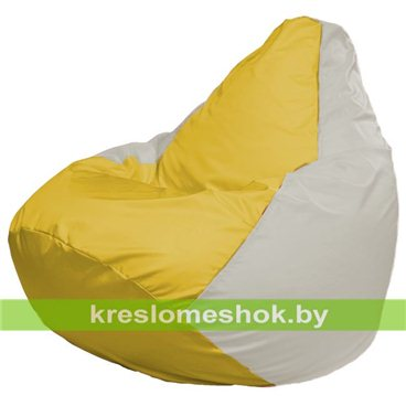 Кресло-мешок Груша Макси Г2.1-266 (основа белая. вставка жёлтая)