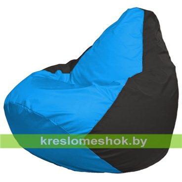 Кресло-мешок Груша Макси Г2.1-267 (основа чёрная, вставка голубая)