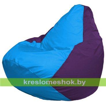 Кресло-мешок Груша Макси Г2.1-269 (основа фиолетовая, вставка голубая)