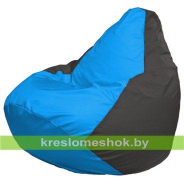 Кресло-мешок Груша Макси Г2.1-270 (основа серая тёмная, вставка голубая)