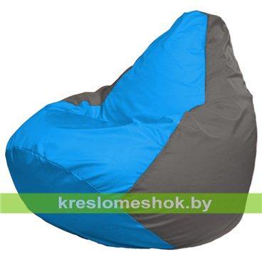 Кресло-мешок Груша Макси Г2.1-274 (основа серая, вставка голубая)