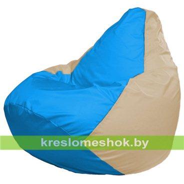 Кресло-мешок Груша Макси Г2.1-275 (основа бежевая, вставка голубая)