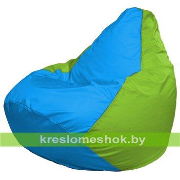 Кресло-мешок Груша Макси Г2.1-276 (основа салатовая, вставка голубая)