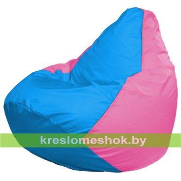 Кресло-мешок Груша Макси Г2.1-277 (основа розовая, вставка голубая)