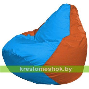 Кресло-мешок Груша Макси Г2.1-278 (основа оранжевая, вставка голубая)