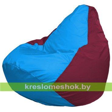 Кресло-мешок Груша Макси Г2.1-281 (основа бордовая, вставка голубая)