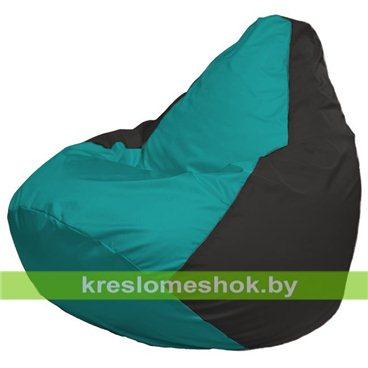 Кресло-мешок Груша Макси Г2.1-283 (основа чёрная, вставка бирюзовая)