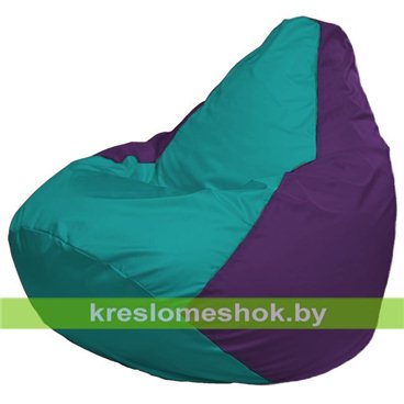 Кресло-мешок Груша Макси Г2.1-285  (основа фиолетовая, вставка бирюзовая)