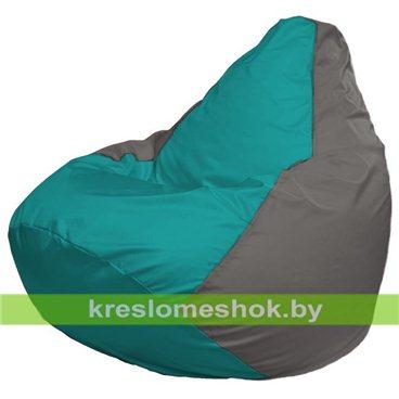 Кресло-мешок Груша Макси Г2.1-292 (основа серая, вставка бирюзовая)