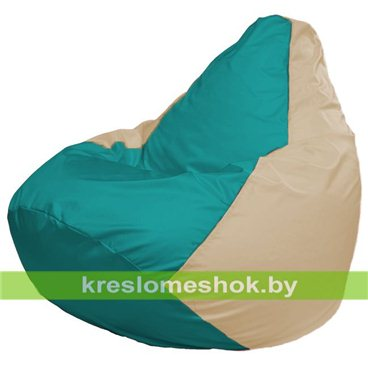 Кресло-мешок Груша Макси Г2.1-293 (основа бежевая, вставка бирюзовая)