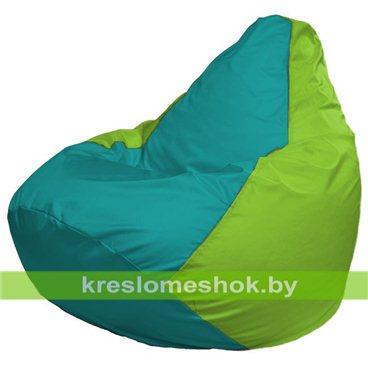 Кресло-мешок Груша Макси Г2.1-294 (основа салатовая, вставка бирюзовая)