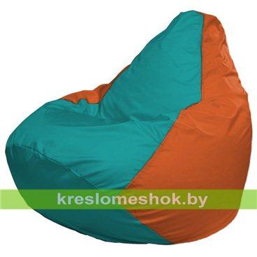 Кресло-мешок Груша Макси Г2.1-296 (основа оранжевая, вставка бирюзовая)