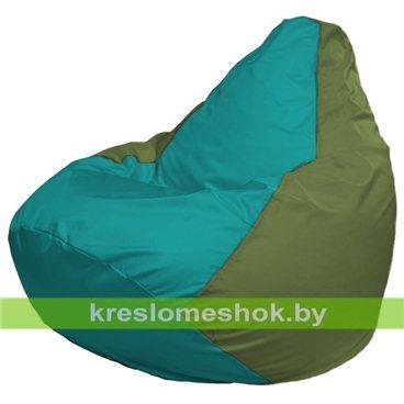 Кресло-мешок Груша Макси Г2.1-297 (основа оливковая, вставка бирюзовая)