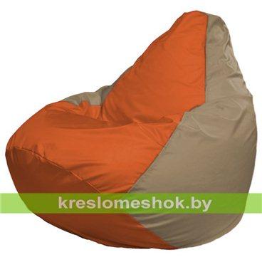 Кресло-мешок Груша Макси Г2.1-30 (основа оранжевая, вставка бежевая тёмная)