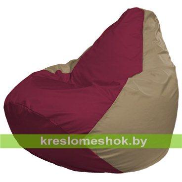 Кресло-мешок Груша Макси Г2.1-301 (основа бежевая тёмная, вставка бордовая)