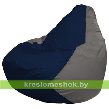 Кресло-мешок Груша Макси Г2.1-41 (основа серая, вставка синяя тёмная)