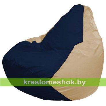 Кресло-мешок Груша Макси Г2.1-42 (основа бежевая, вставка синяя тёмная)