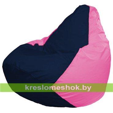Кресло-мешок Груша Макси Г2.1-44 (основа розовая, вставка синяя тёмная)