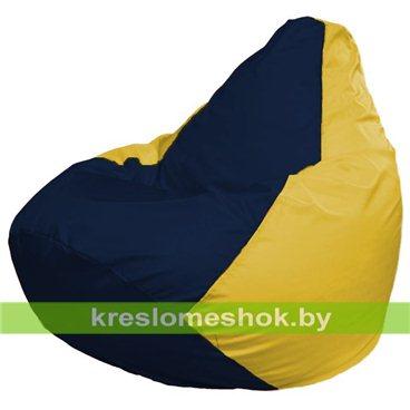 Кресло-мешок Груша Макси Г2.1-47 (основа жёлтая, вставка синяя тёмная)