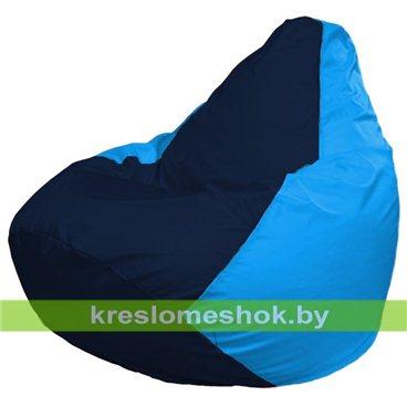Кресло-мешок Груша Макси Г2.1-48 (основа голубая, вставка синяя тёмная)
