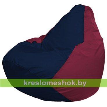 Кресло-мешок Груша Макси Г2.1-49 (основа бордовая, вставка синяя тёмная)