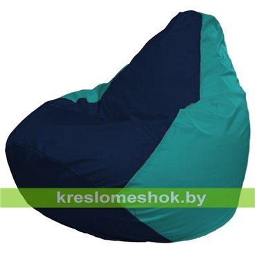Кресло-мешок Груша Макси Г2.1-50 (основа бирюзовая, вставка синяя тёмная)