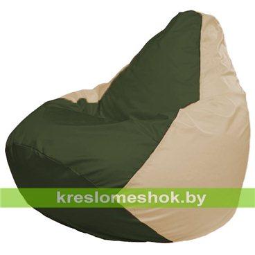 Кресло-мешок Груша Макси Г2.1-54 (основа бежевая, вставка оливковая тёмная)