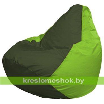 Кресло-мешок Груша Макси Г2.1-55 (основа салатовая, вставка оливковая тёмная)