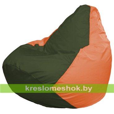 Кресло-мешок Груша Макси Г2.1-56 (основа оранжевая, вставка оливковая тёмная)