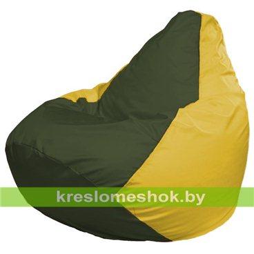 Кресло-мешок Груша Макси Г2.1-57 (основа жёлтая, вставка оливковая тёмная)