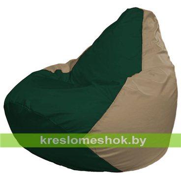 Кресло-мешок Груша Макси Г2.1-60 (основа бежевая тёмная, вставка зелёная тёмная)
