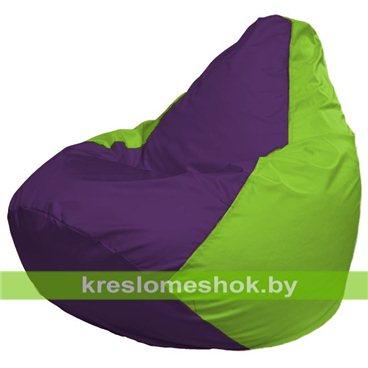 Кресло-мешок Груша Макси Г2.1-31 (основа салатовая, вставка фиолетовая)