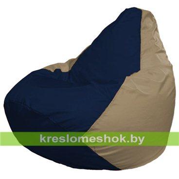 Кресло-мешок Груша Макси Г2.1-39 (основа бежевая тёмная, вставка синяя тёмная)