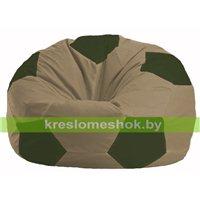 Кресло мешок Мяч бежевый - тёмно-оливковый М 1.1-82