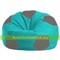 Кресло мешок Мяч бирюзовый - серый М 1.1-292