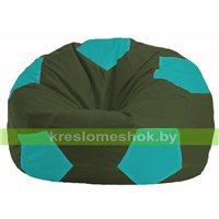 Кресло мешок Мяч тёмно-оливковый - бирюзовый М 1.1-58