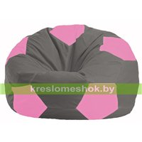 Кресло мешок Мяч серый - розовый М 1.1-333
