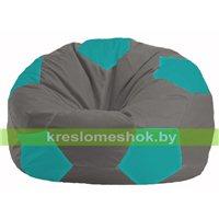 Кресло мешок Мяч серый - бирюзовый М 1.1-335