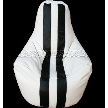 Кресло мешок Спортинг экокожа с полосками белое