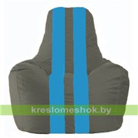 Кресло-мешок Спортинг тёмно-серый - голубой С1.1-359