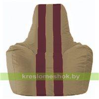 Кресло мешок Спортинг бежевый - бордовый С1.1-97