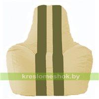 Кресло мешок Спортинг светло-бежевый - оливковый С1.1-144