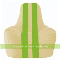 Кресло мешок Спортинг светло-бежевый - салатовый С1.1-141