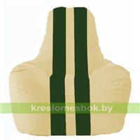 Кресло мешок Спортинг светло-бежевый - тёмно-зелёный С1.1-137